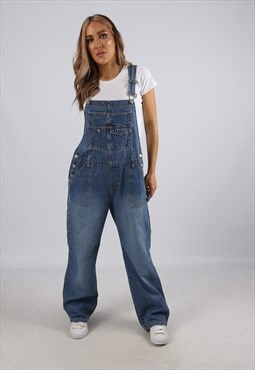 Vintage Denim Dungarees Wide Leg UK 12 M (B3S)