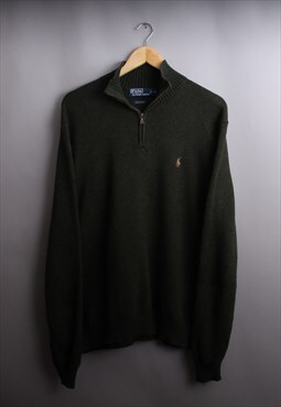 Mens Ralph Lauren Moss Green Quarter Zip Jumper