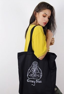 Greasy Nun Black Glow In The Dark Tote Bag