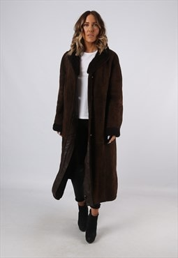 Sheepskin Suede Leather Shearling Long Coat UK 16 (B92E)