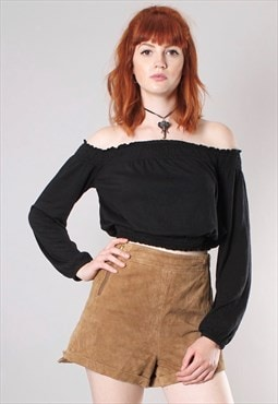Vintage 90s Brown Suede High Waist Zip Side Shorts