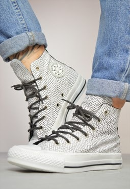 90s Converse White Black Woven Pattern Leather Hi-Tops Retro