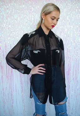 Vintage black semi sheer diamante shirt