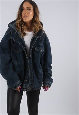 Vintage Denim Jacket Oversized Bomber Hooded UK 16 (W2D)