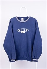 Vintage Nike Sweatshirt Spell Out Swoosh Embroidered Blue L