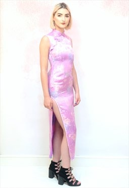 1990s vintage lilac Chinese thigh slit midi dress