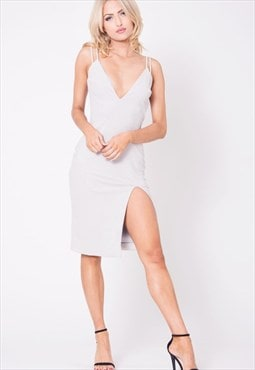 Womens V-Neck Double Strap Suede Dress Solid Silver