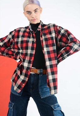 Vintage Eddie Bauer flannel shirt red check.