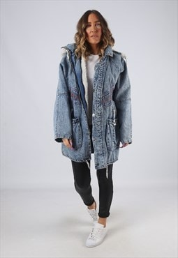 Denim Jacket Sherpa Lined Oversized Hood Long UK 14 16 (CK2L