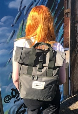 Roll-Top rucksack in Khaki with Old School Junkbox patch