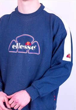 Vintage Ellesse Spell Out Logo Sweatshirt in Blue Medium