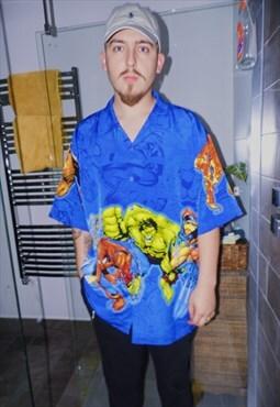 Oversized shirt superhero print blue illustration rare 90s