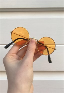Unisex 80s style orange circle john lennon sunglasses