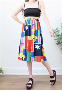 Funky 80s Vintage Rainbow Abstract Midi Skirt
