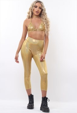 Iridescent Gold Triangle Top & Leggings