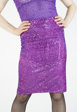 Vintage 80s high waisted sequin purple pink pencil skirt