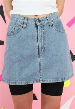 Vintage 90s Levis Denim Skirt Blue Mini Y2K