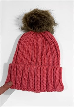 Contrast Faux Fur Bobble Knitted Ribbed Beanie Hat - Red