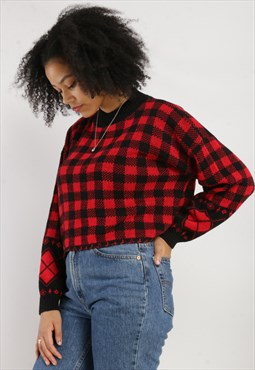 Vintage Reworked checkered cropped Knit Jumper Z238