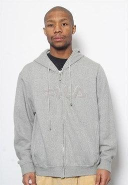 Vintage Fila Embroidered Full Zip Logo Hoodie Grey