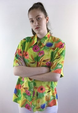 Womens Vintage 80s blouse green floral top oversized shirt