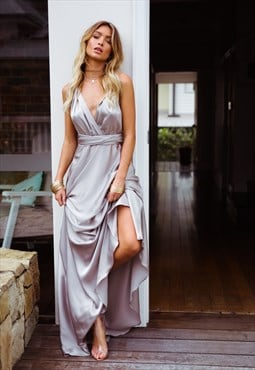 Silver Satin Feel Multiway Maxi