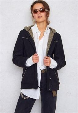 Vintage Black WOOLRICH Shearling Suede Jacket
