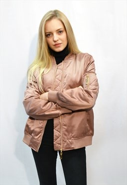 Quilted Satin Rose gold color Puffer Bomber puffer Jacket