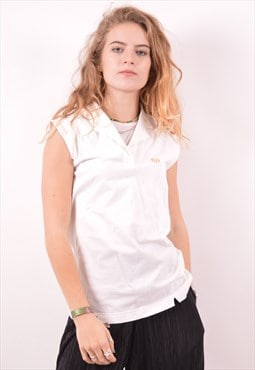 Sergio Tacchini Womens Vintage Polo Shirt Large White 90s