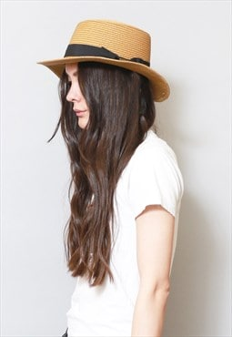 Vintage 1970's Style Brown And Black Straw Fedora