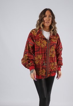 Shell Bomber Jacket Patterned Oversized TARTAN UK 16 (CK2Z)