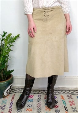Vintage 90s Y2K beige suede skirt with lace up detail