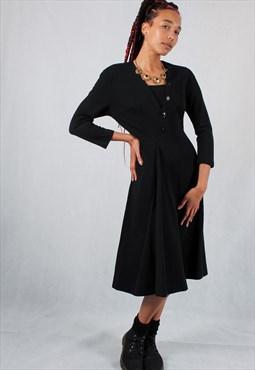 Vintage Long Sleeve Black Fit & Flare Wool Dress