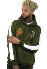 embroidered Khaki hoodie with traditional tiger logo