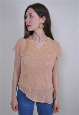 80s beige v-neck pullover blouse with flower embroidery