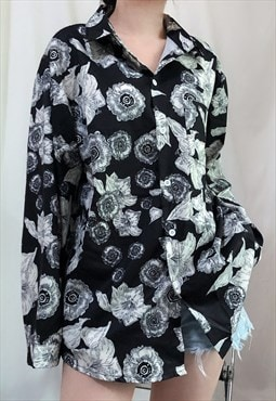 Black White Floral print relaxed fit Shirt unisex