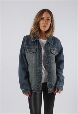 Vintage Denim Jacket Oversized Fitted Dirt Wash UK 14 (HDW)