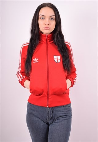ADIDAS WOMENS VINTAGE TRACKSUIT TOP JACKET SMALL RED 90'S