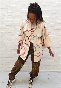 vintage kimono with hand painted swirls