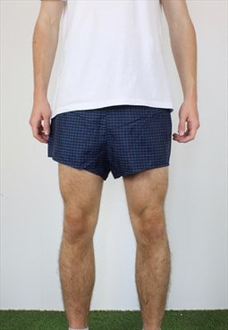Vintage Short Shorts in Plaid Blue with Logo, Drawstring
