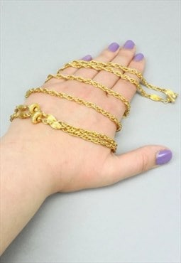 Vintage Chain Necklace, Gold Metal