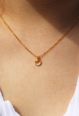 STAR AND MOON CHARM NECKLACE GOLD VERMEIL DAINTY