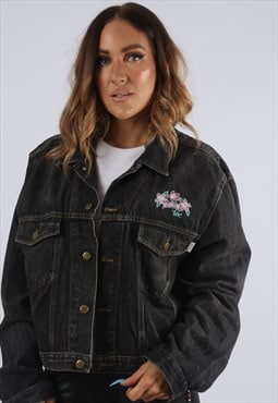 Vintage Denim Jacket Oversized Floral Embroidered UK 14 (J2Y