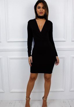 STOCK  CLEARANCE Black Plunge Long Sleeve Bodycon Mini Dress