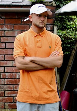 Vintage Orange Polo Ralph Lauren Polo Shirt Large