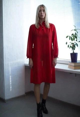 VINTAGE 80'S MIDI RED PATTERNED LONG SLEEVED DRESS