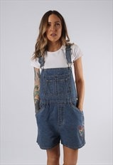 Vintage NO BOUNDARIES Denim Dungaree Shorts UK 14 (DDI)