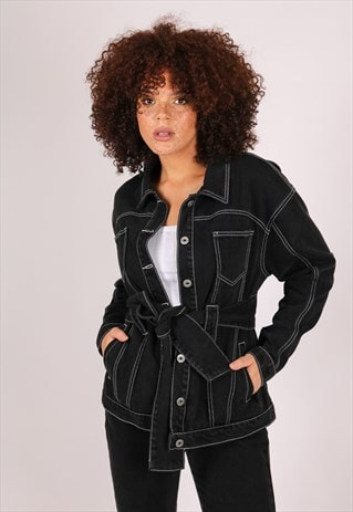 WYOMING BELTED DENIM JACKET WITH CONTRAST STITCH