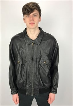 90s Vintage Burberry's Leather Bomber Jacket