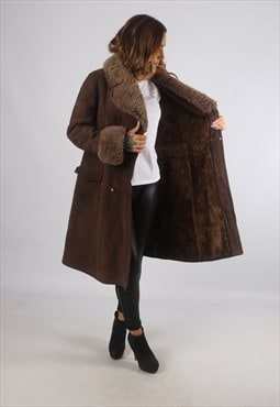 Vintage Sheepskin Suede Shearling Coat Mid Long UK 12 (K9CB)